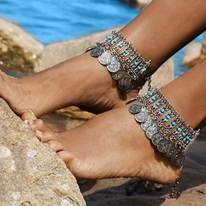Jewelry - Boho Coin Anklet Bracelet Bohemian Tassel Barefoot